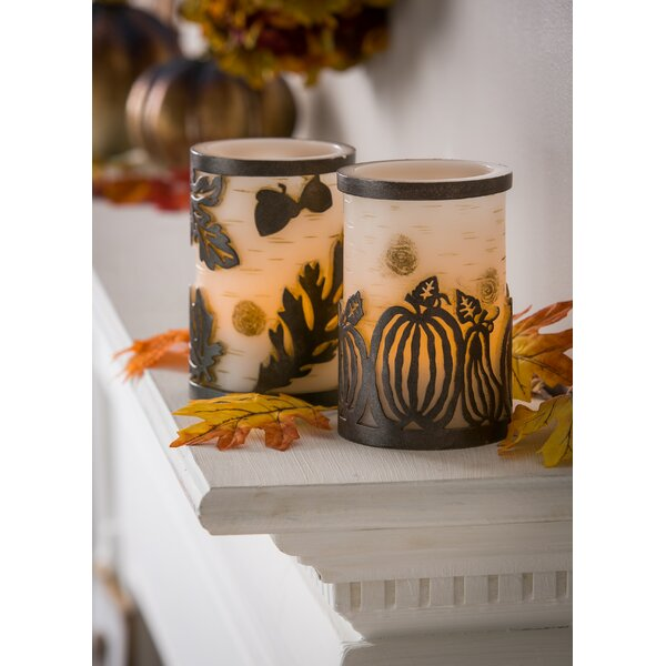2 Piece Pumpkin and Leaves Embossed Unscented Flameless Candle Set by The Holiday Aisle