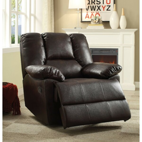 Munford Upholstered Leather Glider Recliner [Red Barrel Studio]