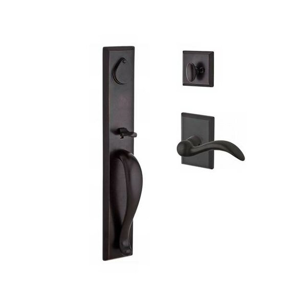 Longview Single Cylinder Handleset with Arch Door Lever and Rustic Square Rose by Baldwin
