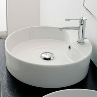 Best Price Geo Ceramic Circular Vessel Bathroom Sink with Overflow By Scarabeo by Nameeks