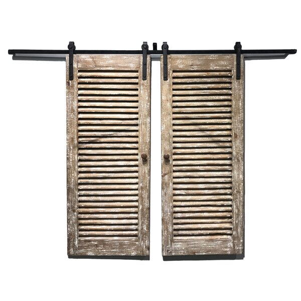 Window Indoor Shutters Solid Wood Louvered Fir Wood Interior Barn Door (Set of 2) by Wilco Home