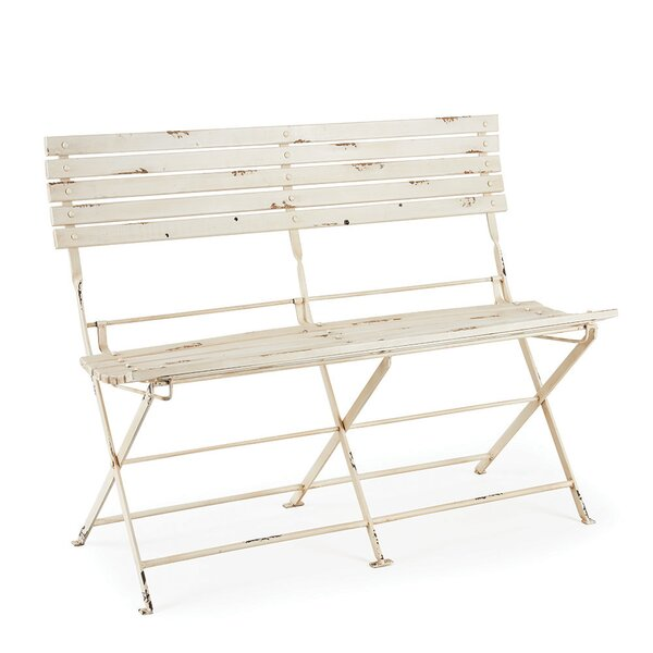 Hillcrest Heights Folding Metal Garden Bench by Rosecliff Heights