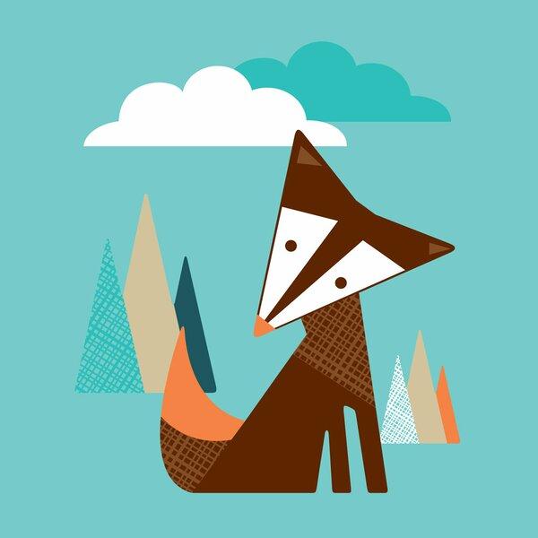 Tall Fox Paper Print by Trendy Peas