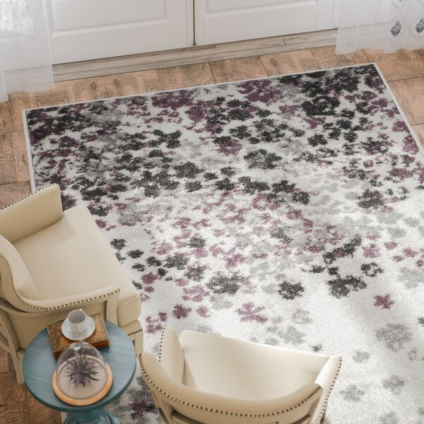 Ales Ivory/Gray/Purple Area Rug by Lark Manor