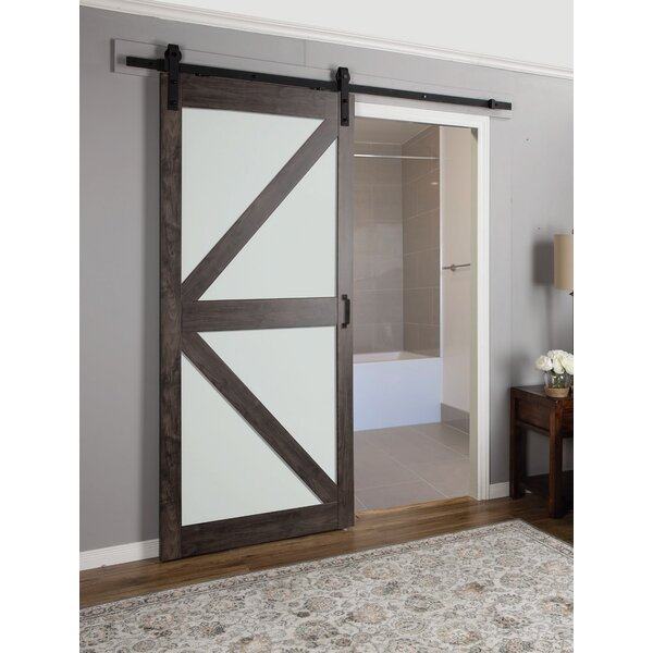 Erias Home Designs Continental Frosted Glass 1 Panel Ironage Laminate Interior Barn Door \u0026 Reviews | Wayfair