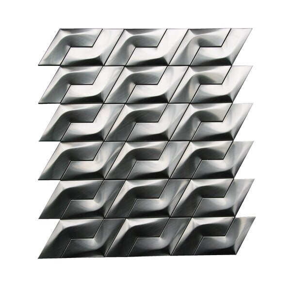 3D Arrowhead 3.3 x 3 Metal Mosaic Tile in Gray by Luxsurface