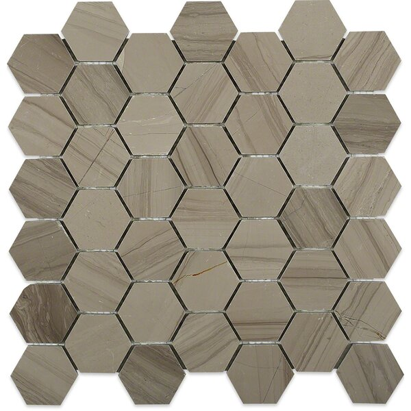 Hexagon 2 x 2 Marble Mosaic Tile in Athens Gray by Splashback Tile