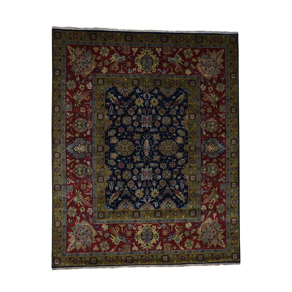 One-of-a-Kind Eddins Fine Sarouk New Zealand Oriental Hand-Knotted Wool Blue Area Rug by World Menagerie