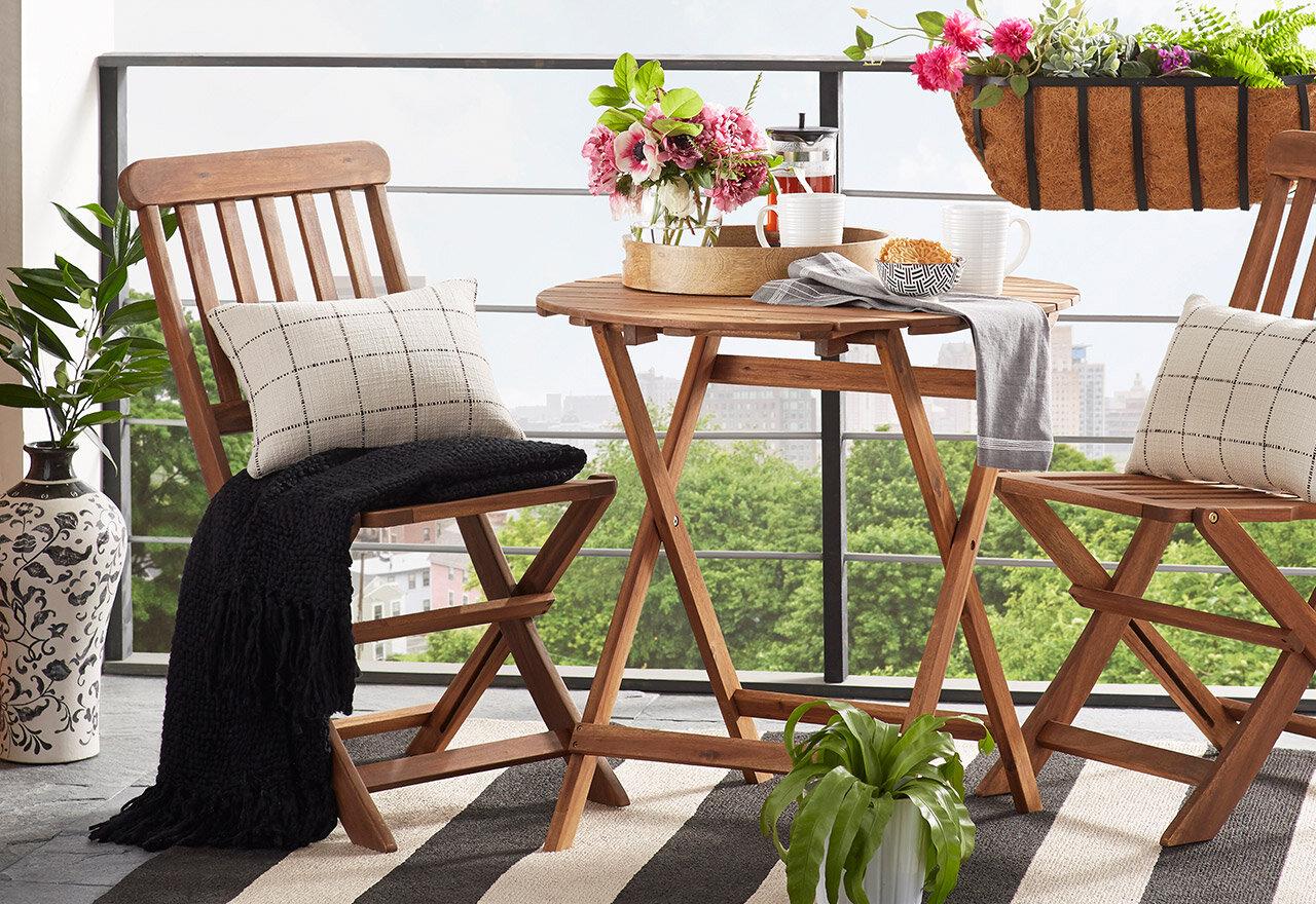 outdoor bistro set on a deck