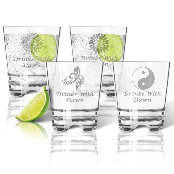 Personalized Tritan 12 oz. 4 Piece Old Fashioned Glass Set by Carved Solutions