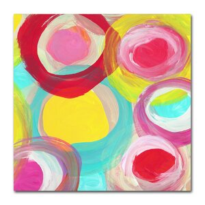 Colorful Sun Circles Square 5 by Amy Vangsgard Painting Print on Wrapped Canvas by Trademark Fine Art