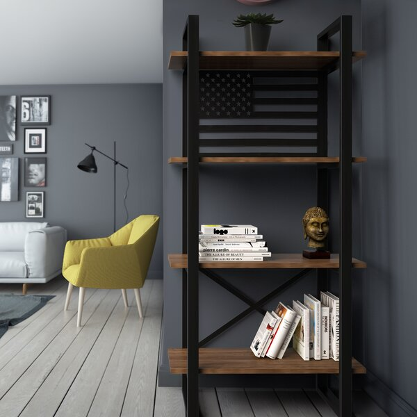 Argueta United Modern Rustic Iron Standard Bookcase by Foundry Select