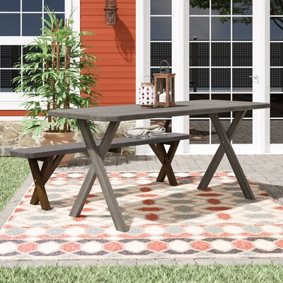 "Pastrana Cross Leg Picnic Bench Union Rustic Size: 30"" H x 44"" W x 27"" D, Color: Unfinished Stain"