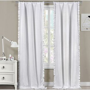 Jacquez Ruffle Trim Solid Thermal Rod Pocket Curtain Panels Set Of 2
