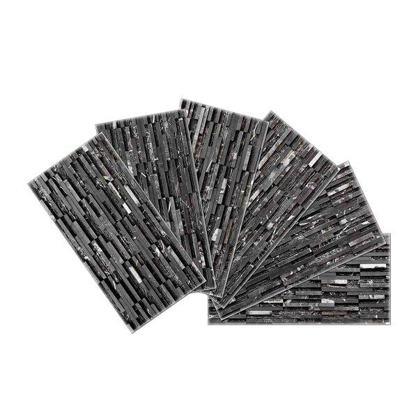 Crystal Skin 3 x 6 Glass Subway Tile in Black by SkinnyTile
