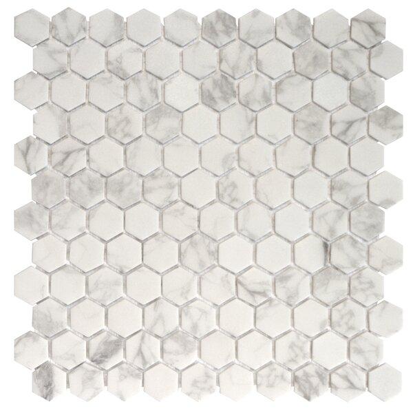 Onix 1 x 1 Glass Mosaic Tile in Statuario Malla by Madrid Ceramics