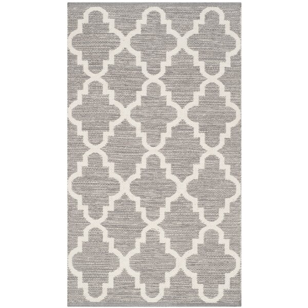 Valley Hand-Woven Cotton Gray/White Area Rug by Alcott Hill