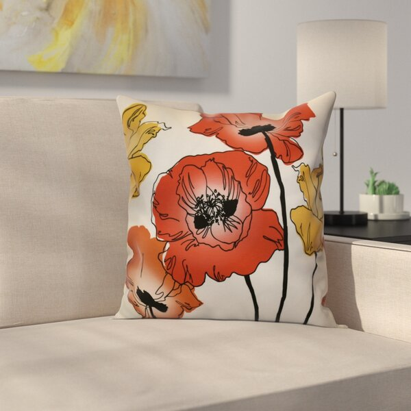 Poppies Throw Pillow by East Urban Home