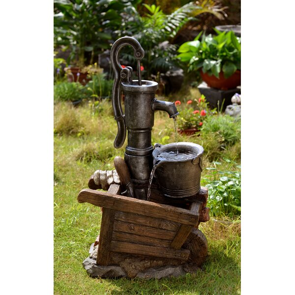 Resin/Fiberglass Water Pump and Pot Water Fountain with LED Light by Jeco Inc.