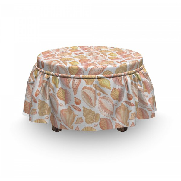 Coffee Bean Shell Ottoman Slipcover (Set Of 2) By East Urban Home