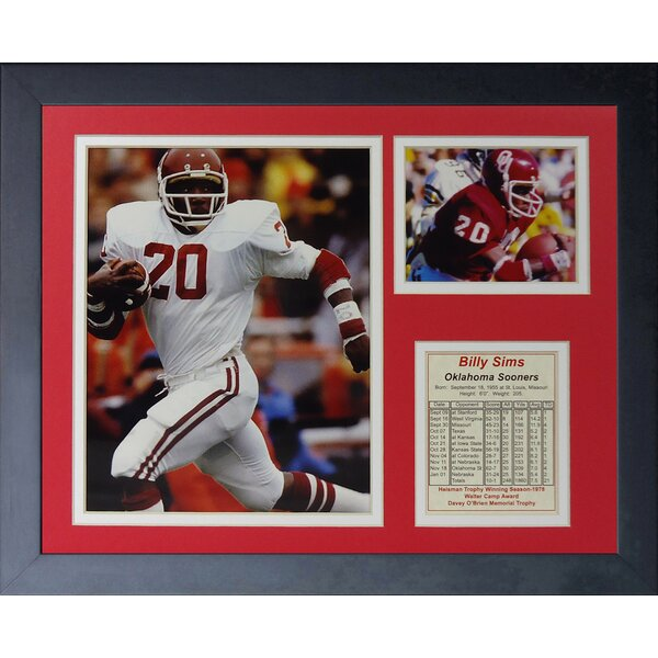 Billy Sims Oklahoma Framed Photographic Print by Legends Never Die