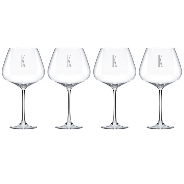 Charcoal Diamond Tuscany Monogram Burgundy 28 Oz. Red Wine Glass (Set of 4) by Lenox