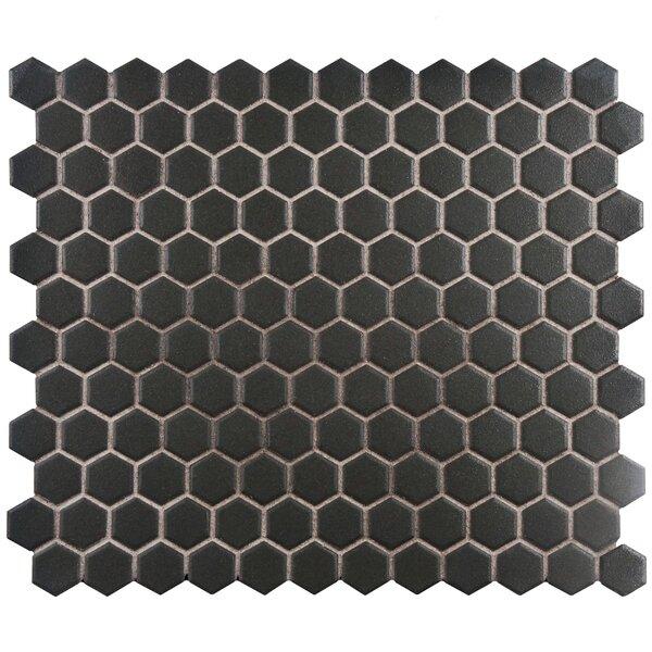 New York Hexagon 10.25 x 12 Porcelain Unglazed Mosaic Tile in Antique Black by EliteTile