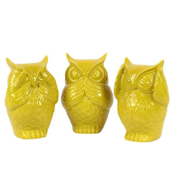 Locascio Ceramic Owl No Evil 3 Piece Figurine Set by August Grove