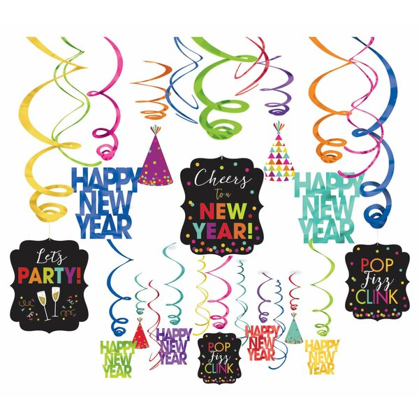 New Year's Foil Swirl Decoration Kit (Set of 2) by Amscan