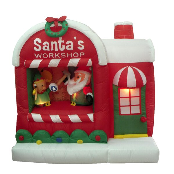 Christmas Inflatable Santa Workshop Decoration by The Holiday Aisle