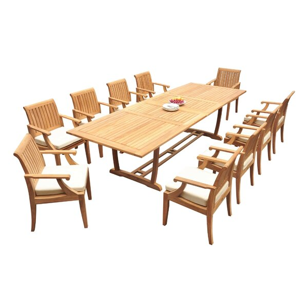 Anyan 11 Piece Teak Dining Set by Rosecliff Heights