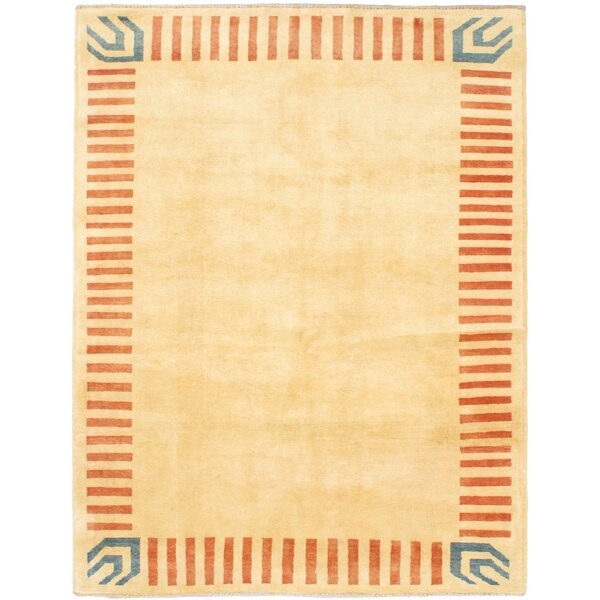 One-of-a-Kind Perkey Hand-Knotted Wool Light Yellow Area Rug by Latitude Run