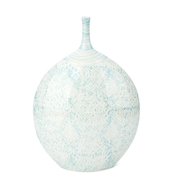 Erita Fascinating Short Snakeskin Pattern Ceramic Table Vase by World Menagerie