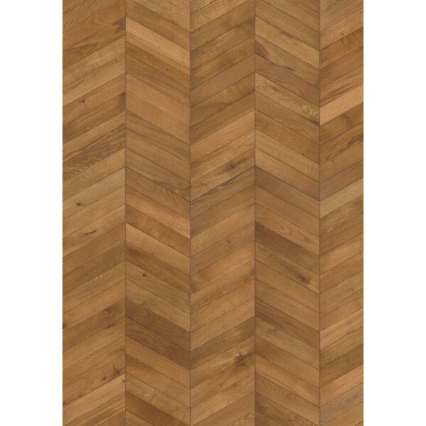 Chevron 12 Engineered Oak Hardwood Flooring in Brown by Kahrs