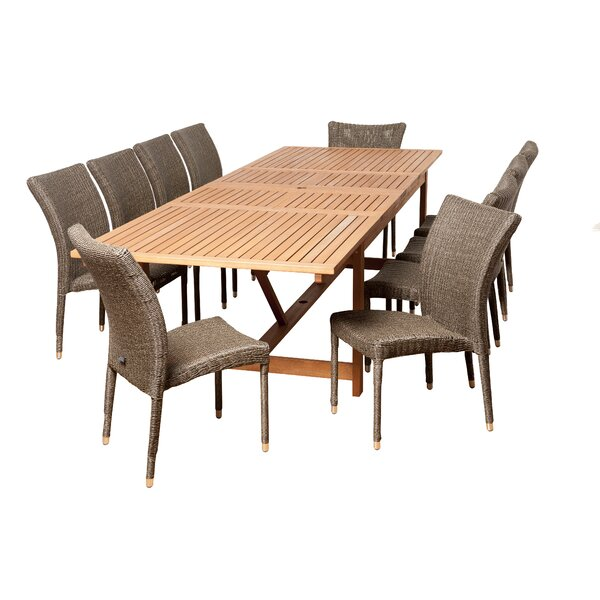 Farview International Home Outdoor 11 Piece Dining Set Bayou Breeze W002482905