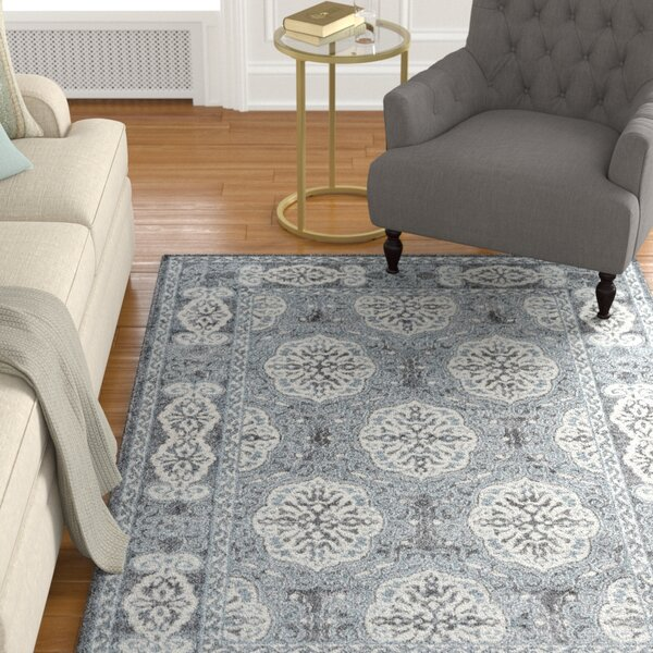 Honig Transitional Steel Blue Area Rug by Charlton Home