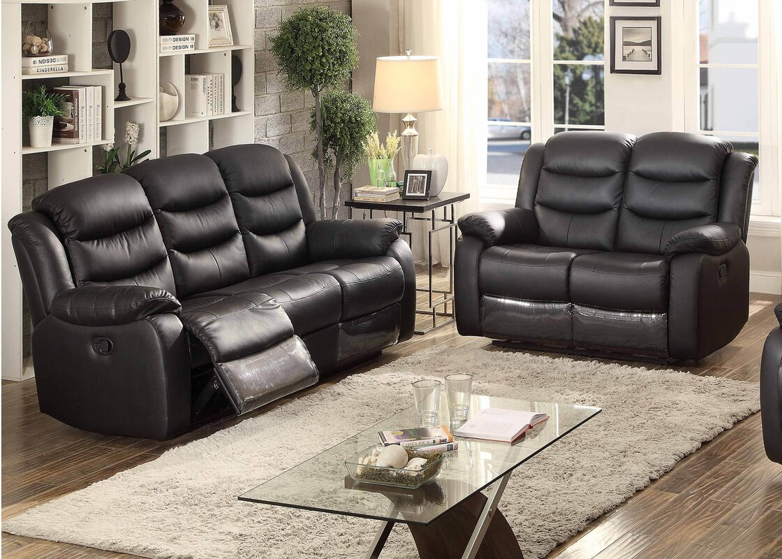 AC Pacific Bennett 2 Piece Leather Living Room Set & Reviews   Wayfair