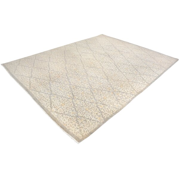 One-of-a-Kind Dorn Hand-Knotted Wool Gray/Ivory Area Rug by Isabelline