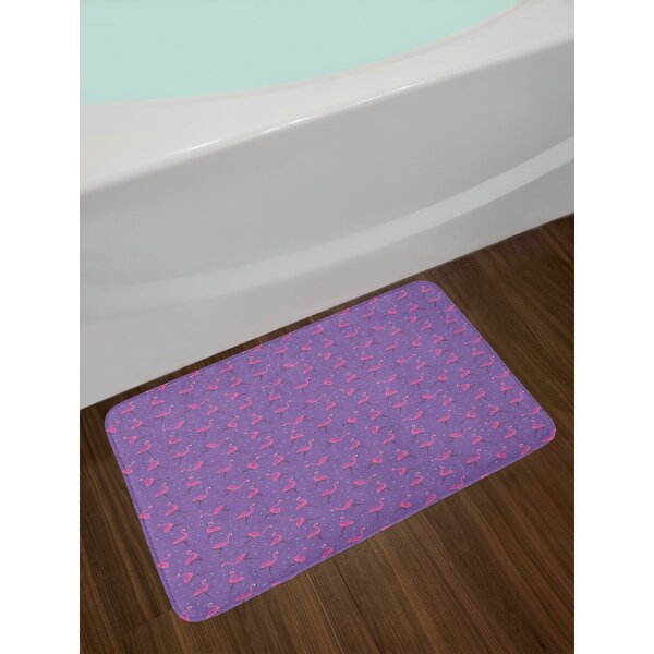 Dotted Purple Background with Cute Pink Exotic Birds Kids Girls Design Bath Rug by East Urban Home