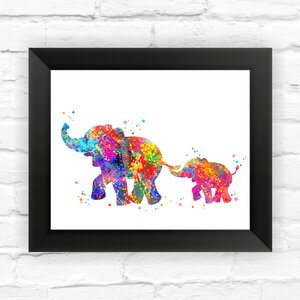 Elephant Family Print Kids Contemporary Watercolor Framed Graphic Art by Dignovel Studios