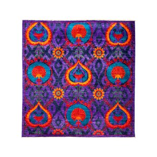 Searching for One-of-a-Kind Suzani Hand-Knotted Purple/Black/Red Area Rug ByDarya Rugs