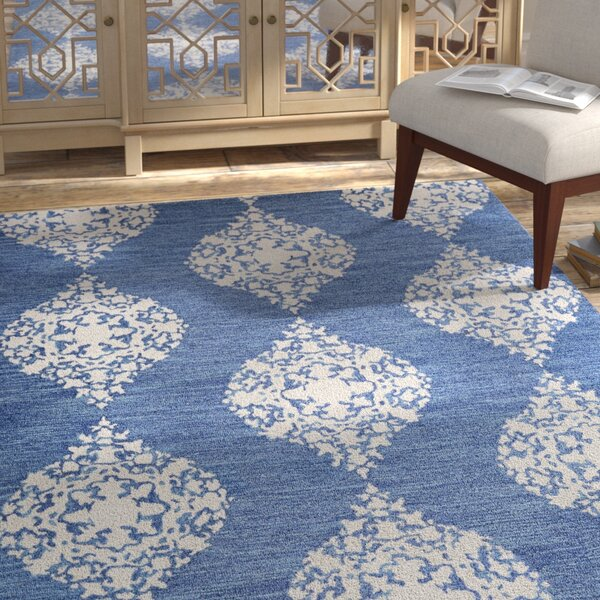 Orkney Ornament Hand-Woven Blue/Ivory Area Rug by Bungalow Rose