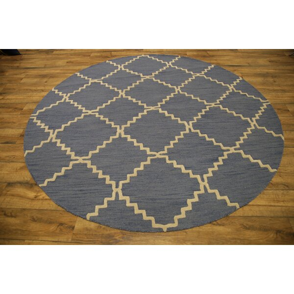 Ayler Trellis Oriental Hand-Tufted Wool Ivory/Blue Area Rug by Ivy Bronx
