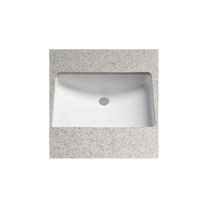 Lavabo de salle de bain rectangulaire encastré en céramique avec trop-plein  sans rebord