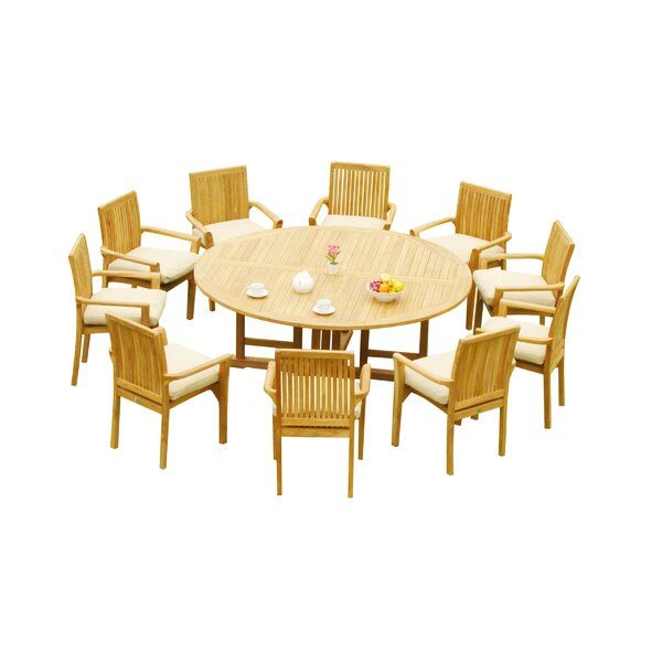 Massie 11 Piece Teak Dining Set by Rosecliff Heights