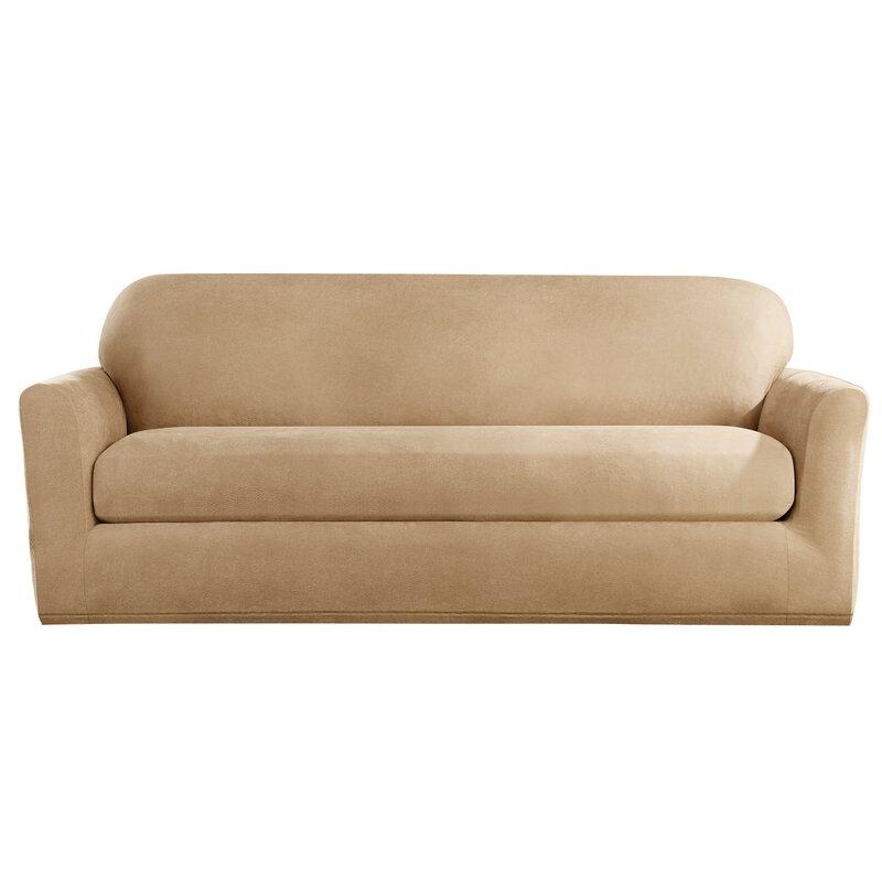 Stretch Leather Box Cushion Sofa Slipcover