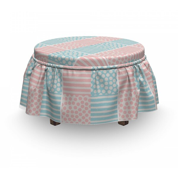 Striped And Grunge Brush Ottoman Slipcover (Set Of 2) By East Urban Home