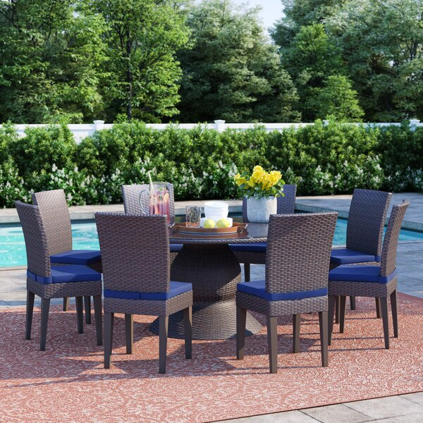 Fernando Outdoor 9 Piece Dining Set with Cushions by Sol 72 Outdoor