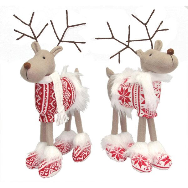2 Piece Good Cheer Standing Reindeer Stuffed Holiday Accent Set by The Holiday Aisle