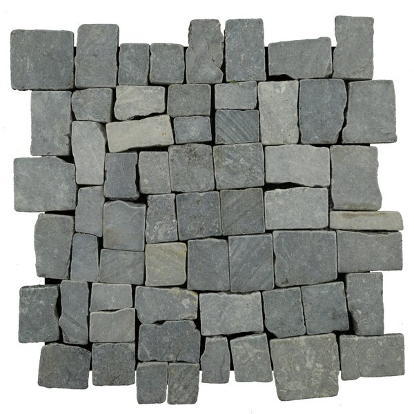 Blocks Random Sized Natural Stone Pebble Tile in Grey by Pebble Tile